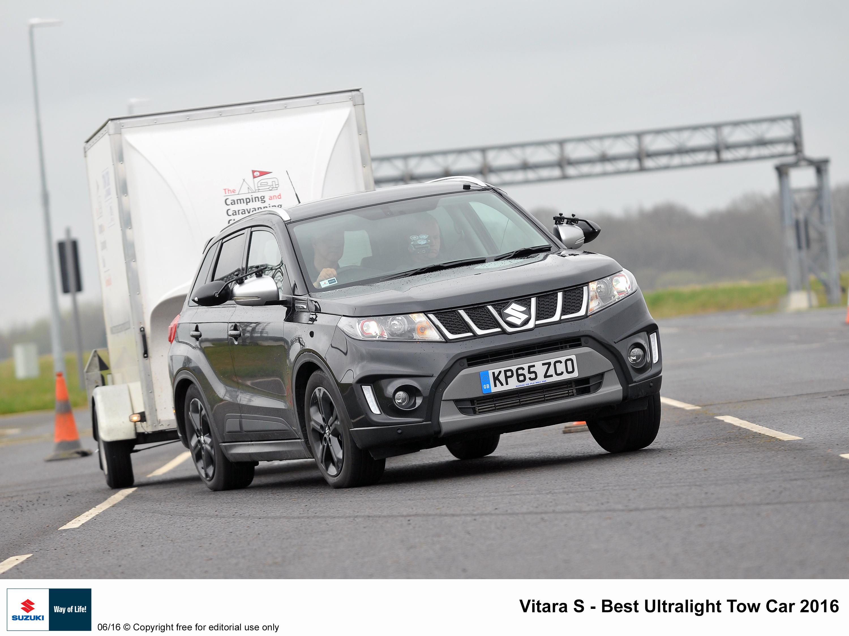 Suzuki Vitara Boosterjet wins best ultralight tow Car 2016. T W White & Sons