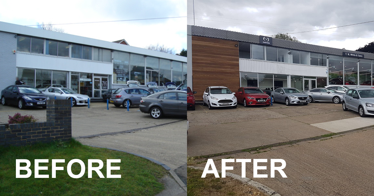 Orpington Mazda refurb - front before and after