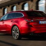 2018 Mazda 6 tourer soul red side rear moving 2