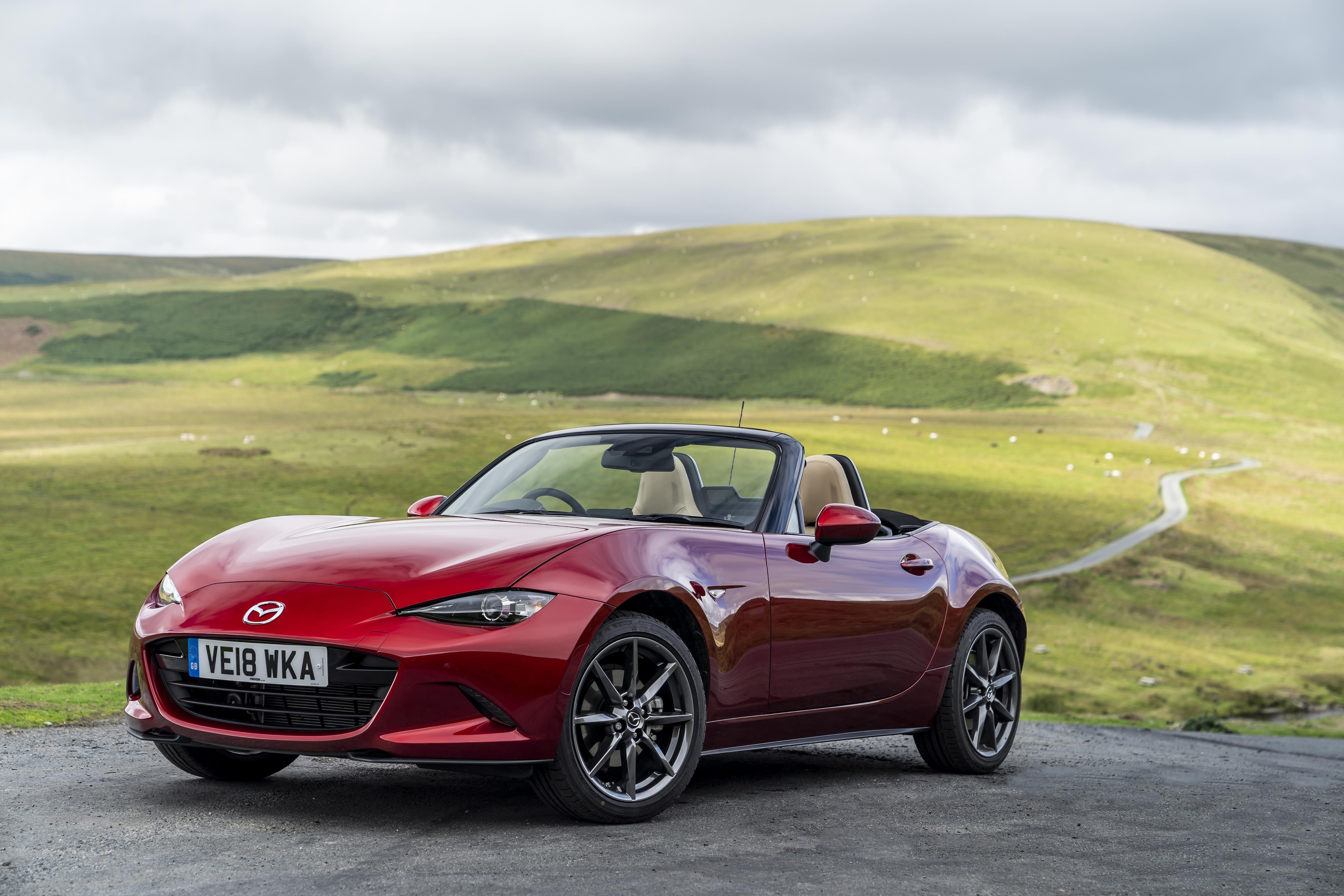 Mazda MX-5 convertible in soul red
